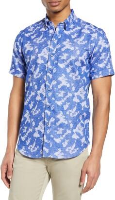 Robert Graham Ward Camo Jacquard Short Sleeve Button-Up Shirt