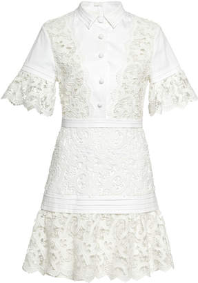 Alexis Liberty Guipure-Lace-Paneled Mini Dress