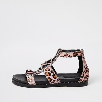 River Island Pink animal print studded gladiator sandals