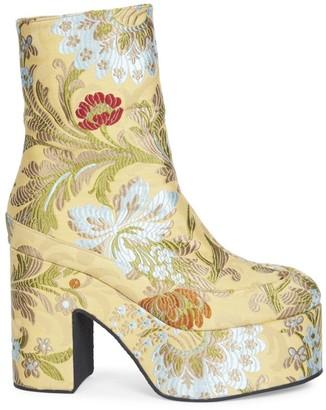 Dries Van Noten Floral Jacquard Platform Ankle Boots