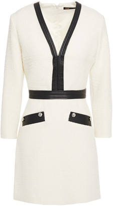 Maje Faux Leather-trimmed Boucle-tweed Mini Dress