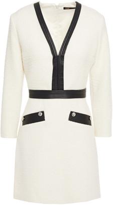 Maje Remma Faux Leather-trimmed Boucle-tweed Mini Dress