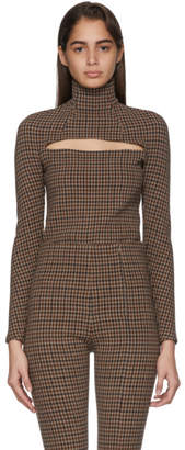 A.W.A.K.E. Mode Beige and Brown Gingham Mailbox Turtleneck