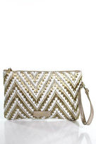 Elaine Turner Designs Gold Straw Chevron Clutch Handbag Size Small