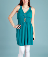 Teal Lace-Back Halter Tunic