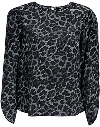 Generation Love Idina Tulip-Sleeve Silk Leopard Top