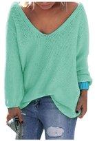 AuntTaylor Teens V Neck Long Sleeve Basic Soft Loose Knit Blouse Tops L