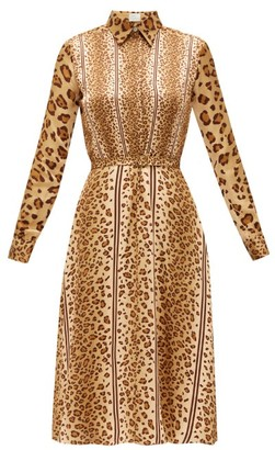 Hillier Bartley Belted Leopard-print Satin Shirt Dress - Animal