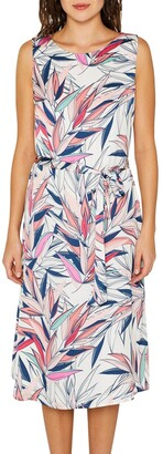 Esprit Leaf Print Midi Dress with Tie-Waist