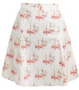 Emilia Wickstead Ines Sailboat-print Cotton-poplin Mini Skirt - Womens - Pink Print