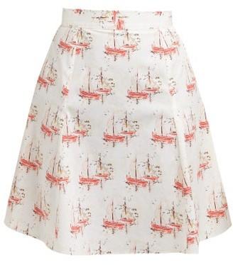 Emilia Wickstead Ines Sailboat Print Cotton Poplin Mini Skirt - Womens - Pink Print