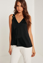 Missguided Eyelet Detail Double Strap Tank Top Black