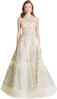 Oscar de la Renta Embroidered Lamé and Tulle Illusion-Neck Gown
