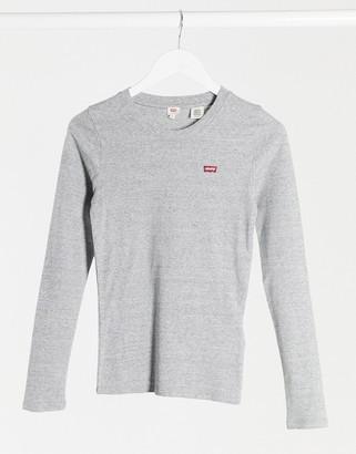 Levi's long sleeve mini logo round neck t shirt in grey