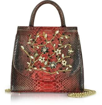 Ghibli Red Python Leather Satchel Bag w/Crystals