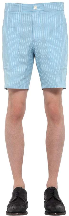 Thom Browne Pinstriped Cotton Cargo Shorts