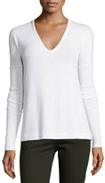 Rag & Bone Theo Long-Sleeve V-Neck Tee, Bright White