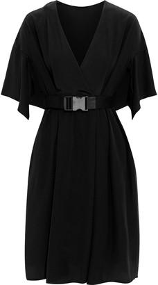 Fendi Wrap-effect Belted Silk Crepe De Chine Dress