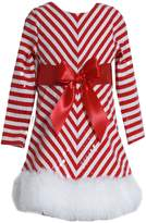 Bonnie Jean Girls Sequins Striped Holiday Christmas Santa Dress, (4 Toddler)