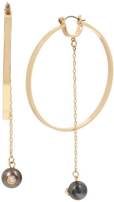 BCBGeneration Extra Large Pearl Chain Gold Hoop Earrings 3-1/2