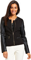 Charter Club Jacket, Faux-Leather-Sleeve Zippered