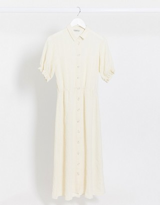 Stradivarius button front midi dress with puff sleeves in white