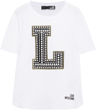 Love Moschino Appliqued Stretch-cotton Jersey T-shirt