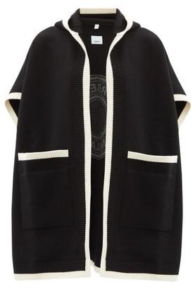 Burberry Carla Logo-jacquard Wool-blend Cape - Black White