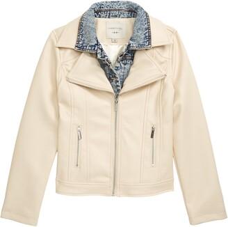 Habitual Denim Trim Faux Leather Jacket