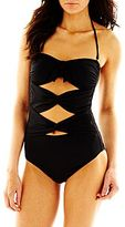 JCPenney a.n.a® Tie-Front Bandeau One-Piece Swimsuit