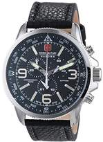 Swiss Military Men's Quartz Watch with Black Dial Chronograph Display and Black Leather Strap 6-4224.04.007