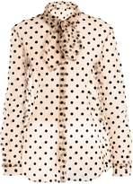 Isa Arfen Tie-neck polka-dot tulle blouse