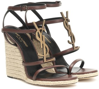 Saint Laurent Cassandra 115 leather wedge espadrille sandals