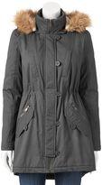 Urban Republic Juniors' Twill Faux-Fur Anorak Jacket