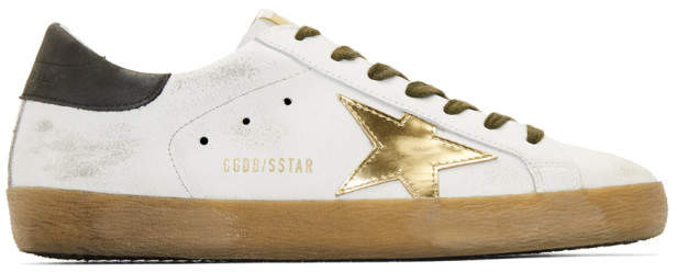 Golden Goose White and Gold Superstar Sneakers