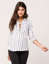 Full Tilt Stripe Lace Up Womens Shirt
