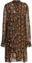 Derek Lam Floral Pleat-Sleeve Silk Midi Shirtdress