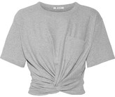 Alexander Wang Cropped Twist-front Stretch-cotton Jersey T-shirt - Light gray