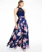 City Studios Juniors' Lace Top and Floral 2-Pc. Gown