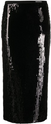 RED Valentino Sequin Embroidered Pencil Skirt