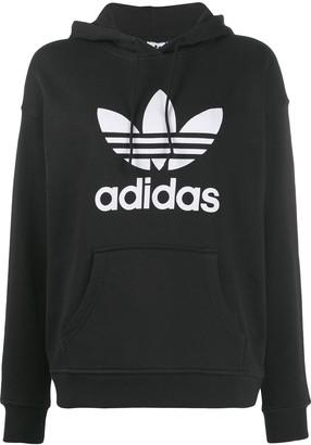 adidas Trefoil logo print hoodie