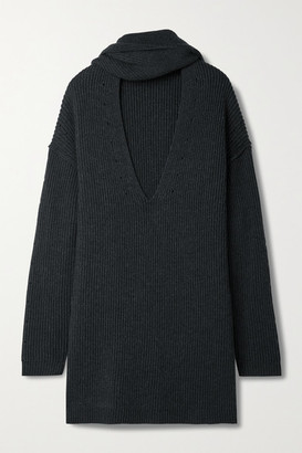 Proenza Schouler White Label Oversized Ribbed Merino Wool Sweater - Charcoal