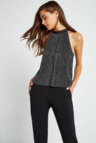 BCBGeneration Sleeveless Metallic Trapeze Top - Black