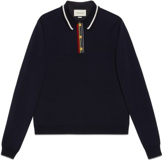 Gucci Knit cotton long-sleeve polo