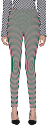 Paolina Russo SSENSE Exclusive Pink and Green Illusion Knit Bullseye Leggings