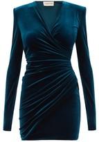 Alexandre Vauthier Draped Wrap-style Velvet Mini Dress - Womens - Blue