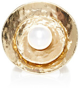 Oscar de la Renta Large Pearl Gold Disc Ring