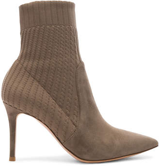 Gianvito Rossi Suede & Knit Katie Ankle Boots in Mud & Bisque | FWRD