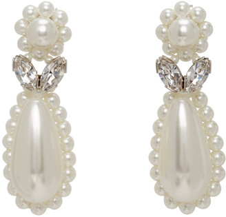 Simone Rocha Off-White Pearl Flower Earrings