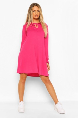 boohoo Tie Neck Oversized Collar Smock Dress